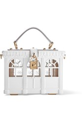 Dolce And Gabbana Leather Trimmed Painted Wood Clutch White