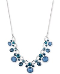 Nine West Silver Tone Blue Stone And Crystal Collar Necklace