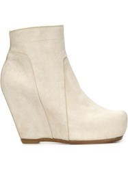 Rick Owens Wedge Ankle Boots White