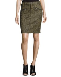 Current Elliott The Soho Zip Stiletto Pencil Skirt W Paw Prints Army Dirty Paws