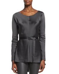 The Row Isa Belted High Low Satin Top Pewter Silver