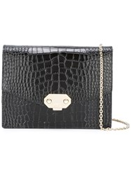 Armani Collezioni Embossed Crocodile Effect Crossbody Bag Black
