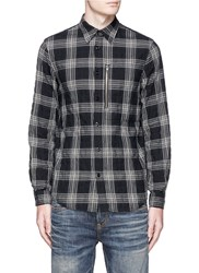 R 13 Zip Pocket Glen Plaid Shirt Black
