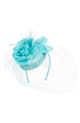 August Hat Veiled Floral Fascinator Headband Blue Green Turquoise