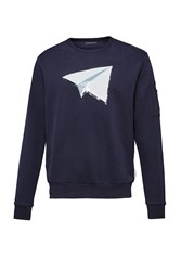 French Connection Paper Plane Jersey Sweatshirt Blue