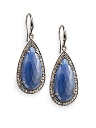Bavna 0.87 Tcw Diamond Blue Sapphire And Sterling Silver Teardrop Earrings