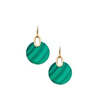 Michael Kors Gold Tone Malachite Disc Drop Earrings