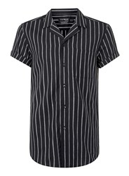 Topman Black And Grey Stripe Linen Mix Short Sleeve Smart Shirt