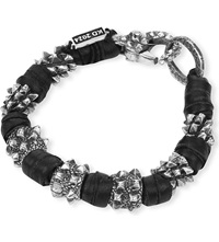 Kd2024 Spike Sterling Silver And Leather Bracelet Black