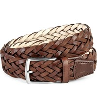 Duchamp Plaited Leather Belt Brown