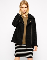 Ganni Collared Wool Mix Biker Jacket Black