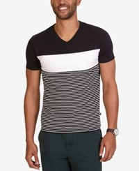 Nautica Men's Slim Fit Pieced Stripe V Neck T Shirt True Black