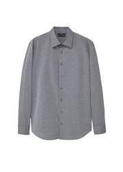 Mango Slim Fit Textured Cotton Shirt Grey