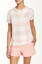 Harlowe And Graham Collared Gingham Short Sleeve Woven Shirt Pink