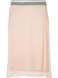 Marni Sheer Panel Skirt Nude And Neutrals