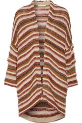 Maje Oversized Striped Jacquard Knit Cardigan Red