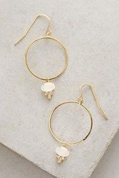 Anthropologie Stone Drop Hoops Gold