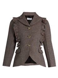 Sonia Rykiel Single Breasted Ruffle Trimmed Wool Tweed Jacket Red Multi