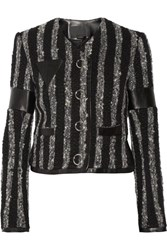 Alexander Wang Leather Trimmed Striped Boucle Tweed Jacket Black