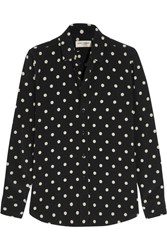 Saint Laurent Polka Dot Crepe Shirt Black