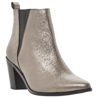 Dune Preslee Pointed Toe V Cut Chelsea Boot Pewter Metallic Leather