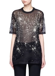 Givenchy Constellation Embellished Silk Organza T Shirt Black