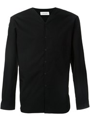 Christophe Lemaire V Neck Collarless Shirt Black