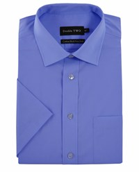 Double Two Men's King Size Non Iron Poplin Short Sleeve Shirt Blue