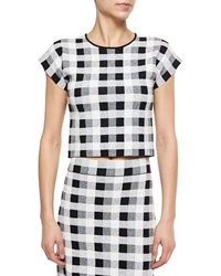Theory Seblyn Magnified Plaid Crop Top