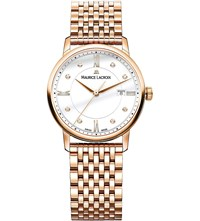 Maurice Lacroix Eliros El1094 Pvp061 501 Rose Gold Plated And White Diamond Watch White Dia Dot