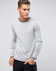 Selected Homme Crew Neck Knitted Jumper With Contrast Raw Hem Papyrus Grey