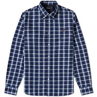 Fred Perry Herringbone Gingham Shirt Blue