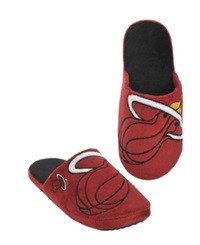 Forever Collectibles Men's Miami Heat Big Logo Slippers Black Red