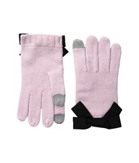 Kate Spade Gloves With Grosgrain Bow Orchid Frost Black Extreme Cold Weather Gloves Pink