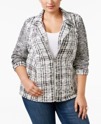 Styleandco. Style Co. Plus Size Jacquard Plaid Jacket Only At Macy's Neutral Plaid