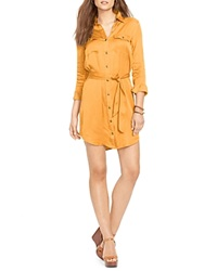 Lauren Ralph Lauren Petites Military Button Front Shirt Dress Cantaloupe