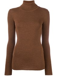 Laneus Ribbed Turtleneck Jumper Brown