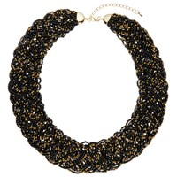 John Lewis Seed Bead Statement Collar Necklace Gold Black