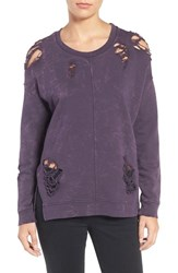 Joe's Jeans Women's Bibiana Destroyed Sweatshirt Deep Orchid