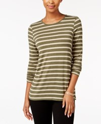 G.H. Bass And Co. Striped Long Sleeve Top Heather Olive Combo