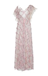 Sandra Mansour Starlette Tulle Organza Embroidered Long Dress Pink