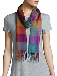 Fraas Multicolor Gingham Fringed Scarf Autumnal Multi