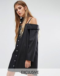 Reclaimed Vintage Reclamed Off Shoulder Shirt Dress Dark Denim Blue