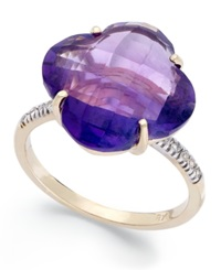 Macy's 14K Gold Ring Amethyst 8 Ct. T.W. And Diamond Accent Ring