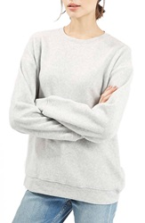 Topshop Brushed Crewneck Sweatshirt Light Grey