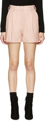 Mcq By Alexander Mcqueen Pink Pleated Wool Shorts