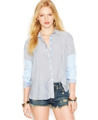 Free People Oxford Stripe Button Down Shirt