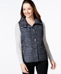 Styleandco. Style And Co. Quilted Printed Zip Front Vest Only At Macy's Deep Black