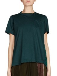 Sacai Lace Back Tee Dark Green