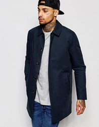 Asos Single Breasted Shower Resistant Trench Coat In Navy Navy